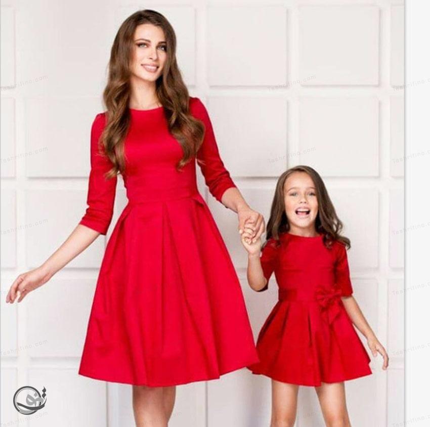 ست مادر دختری مجلسی قرمز رنگ