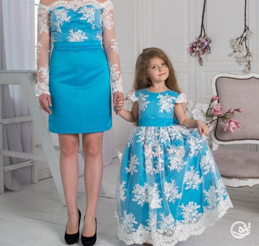 بهترین پارچه رنگی ست مادر دختری مجلسی