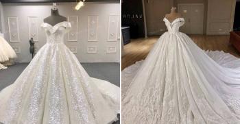 انواع لباس عروس یقه دلبری پفی و پرنسسی جدید 2020