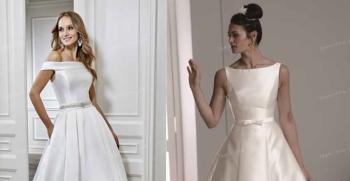 انواع مدل های لباس عروس یقه قایقی آستین دار و بدون استین