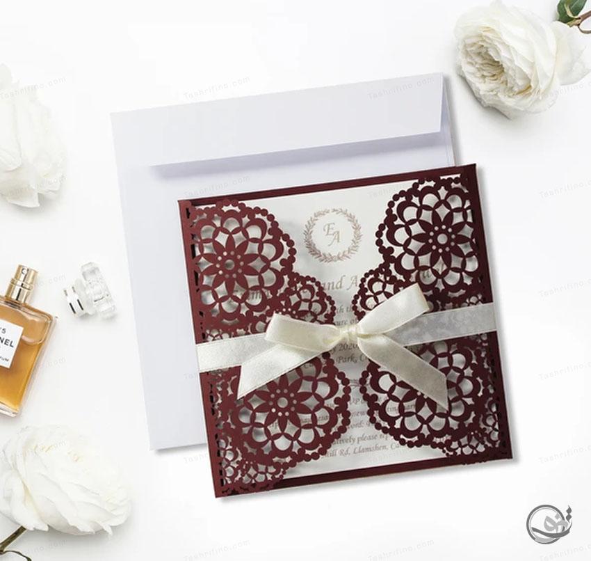 کارت عروسی لوکس قهوه ای