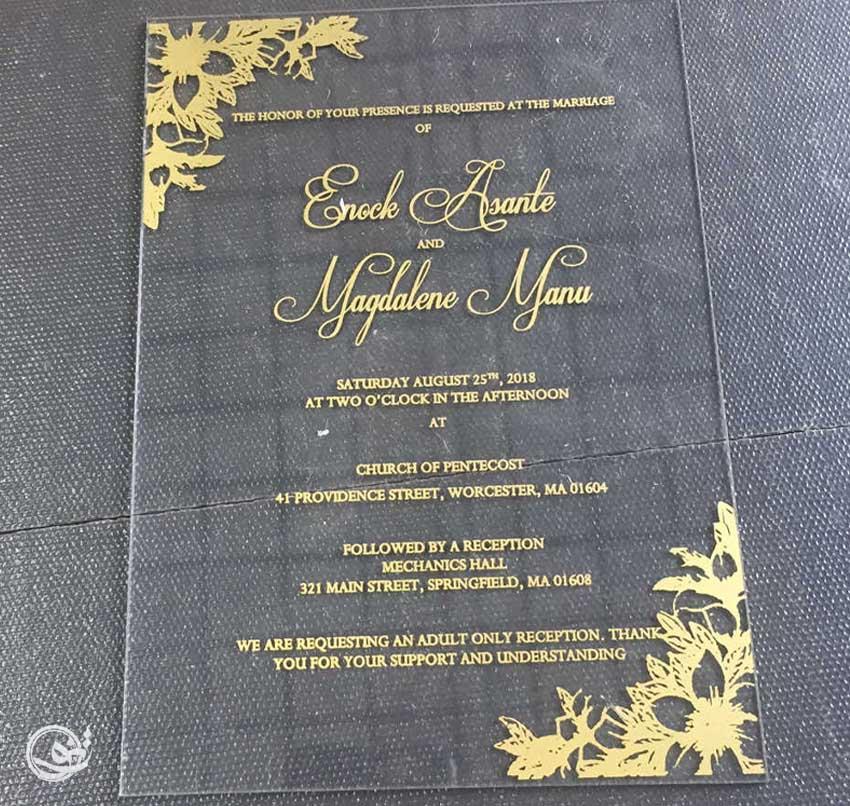 کارت عروسی لوکس شیشه ای