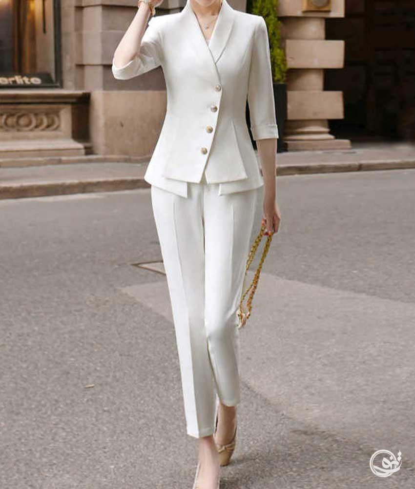 مدلکتوشلوار دخترانه سفید و شیک