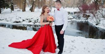 لباس عروس قرمز [لباس عروس رنگ قرمز شیک و جدید]